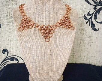 Chainmail Necklace - Japanese Lace Statement in Solid Bronze