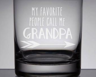 Grandpa Whiskey Glass, Father's Day Gift, Etched Whiskey Glass, Sandblasted Glass, Gift for Dad, Etched Bourbon Lowball, Grandpa Bourbon