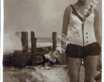 Instant Download, Black and White Photo, Woman in vintage 1920s swimwear and hat by pier