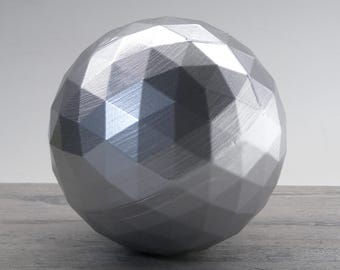 Silver Geodesic Sphere Orb Decorative Sphere 5 Inch - Silver Sphere Geodesic Ball Decoration Silver