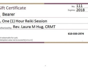 Gift Certificate for a 1 (One) Hour Reiki Session