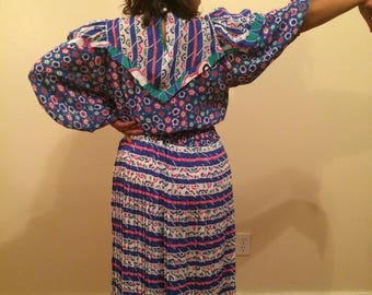 80s Multicolored Patterned Dress