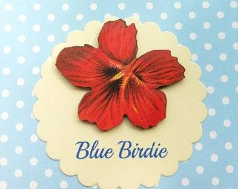Pansy flower brooch flower jewelry flower jewellery red Pansy badge flower badge summer vintage look flower jewellery gift