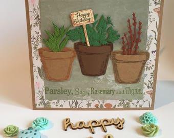 Garden themed birthday card - handmade