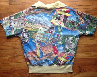 RARE 1940s 1950s printed pullover shirt