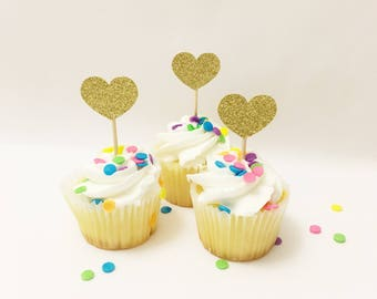Heart Cupcake Toppers Heart Topper Gold Heart First Birthday Decorations Gold Glitter Heart Cupcake Topper Party Decorations Bridal Shower