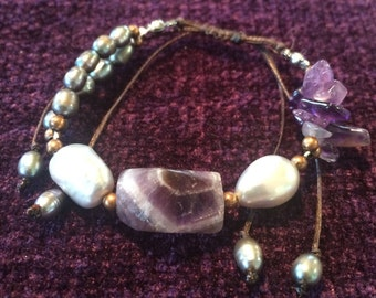amethyst and pearls bracelet