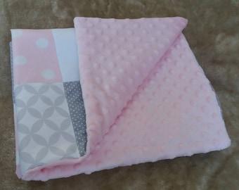 Modern baby girl patchwork blanket, Baby girl blanket, Patchwork blanket