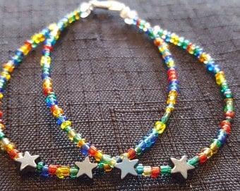 Double Stranded Rainbow Hematite Star beaded bracelet
