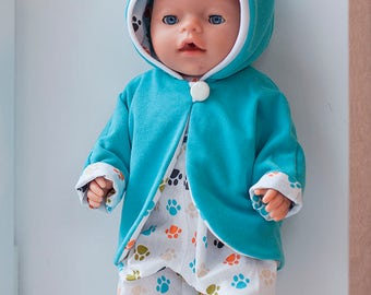 Colorful and original suit for doll, for Baby Born doll, bodysuit, jacket with ears