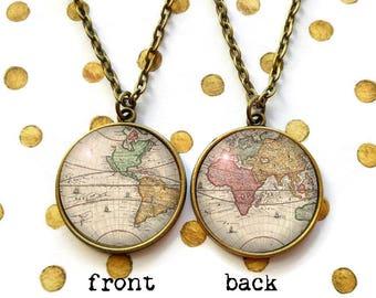 Double Sided Antique World Map Necklace, Renaissance Map Art, Vintage Globe Pendant, Graduation Gift, Compass Charm, Travelling Wandering