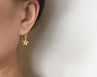 Gold star earrings, gold earrings, star earrings, silver earrings, polished earrings, vermeil earrings