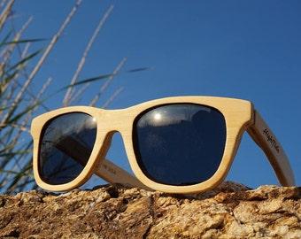 Bamboo Sunglasses Wooden, Wayfarer Shape Wooden Eyewear, Polarized Wood Sunglasses Man Woman | Handmade