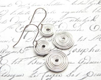 Spiral Wire Earrings - Double Spiral Silver Earrings - Silver Wire Earrings - Sterling Silver Ear Wires