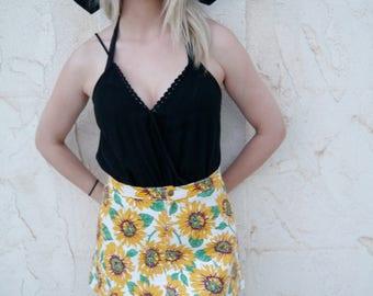 Vintage Floral Sunflower Denim Mini Skirt