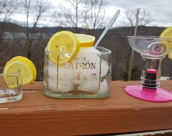 Patron Shot Glass, Patron Bowl and Absolut Double Shot Glass Set