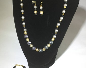 Black, silver and gold Necklace, Earrings and Bracelet set