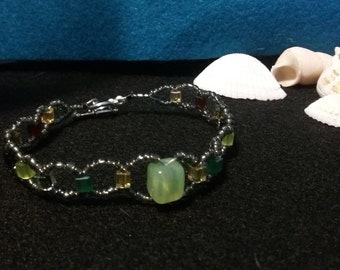 bracelet and earring set/ earthtone woven bracelet/ green beaded bracelet/