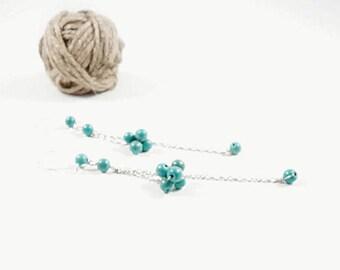 Long hanging earrings, blue turquoise earrings, silver earrings, sparkling natural turquoise earrings, Trend 2017, Charming earrings