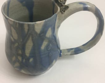 Ceramic Rose Mug, Blue 1