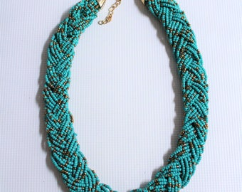 Beaded necklace, Kenyan necklace, African jewelry, African necklace, Braided statement necklace