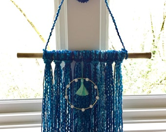 All Shades Of Blue And Bamboo Yarn Wall Hanging