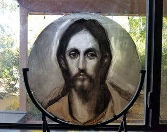 Painted Glass - Jesus detail, El Greco - Fine Art
