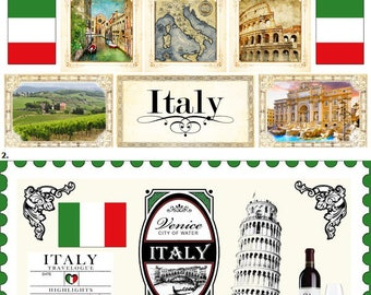 Travel Stickers - Italy Sightseeing Icons & Images - Rome, Milan, Florence, Venice - Tuscany - 30 Color Assorted - Die Cut and Cut out