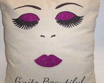 Eyelash Pillow - Eyelash Throw Pillow - Designer Pillow - College Dorm Decor - Eyelash Pillow Cover - Fashion Pillow - PILLOW COVER ONLY