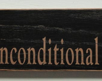 Puppy Unconditional love, painted & distressed wood sign