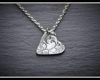 Engraved Heart Pendant - Silver Precious Metal Clay (PMC), Handmade, Necklace - (Product Code: ACM024-17)