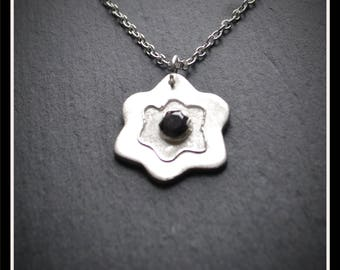 Flower Large CZ Pendant - Silver Precious Metal Clay (PMC), Handmade, Necklace - (Product Code: ACM035-17)