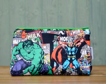 Handmade with Marvel Comics Fabric zip up make up / toiletries / pencil case / wash bag pouch. Hulk Thor Avengers Geek Comics