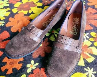 Vintage 60s 70s DEADSTOCK - K Aqua Skip Clarks brown waterproof suede loafers mod UK 5