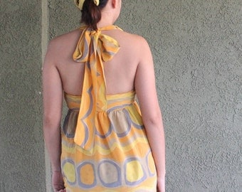Vera 100% silk psychedelic yellow tank top