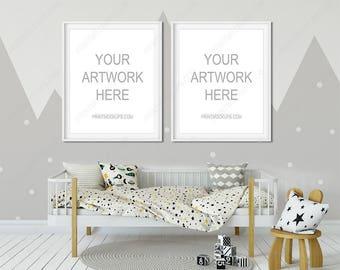 Nursery Frame Mockup, Kids Nursery Art Mockup, Styled Frame Mockup, Styled Photography Mockup, White Frame Mockup, Nursery Mockup Bedroom
