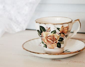 Stunning Victorian Floral Teacup - 1869 - H. Aynsley & Co