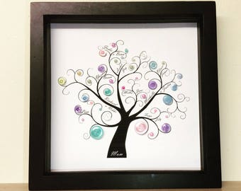 Pearlescent Button Art Family Tree Frame