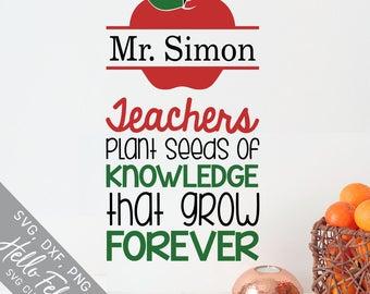 Teacher Svg, Teacher Gift Svg, Seeds of Knowledge Svg, Apple Svg, Dxf, Jpg, Svg files for Cricut, Svg files for Silhouette, Vector Clip Art