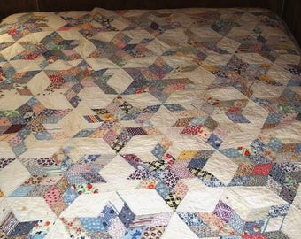 1920s Columbia Stars Feedsack Pieced Quilt Missouri