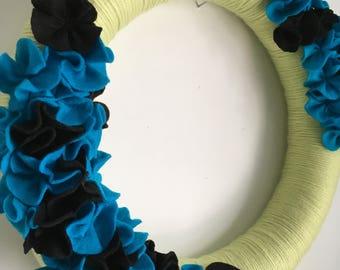 Felt Wreath-Yarn Wreath-Modern-Hand Sewn Flowers