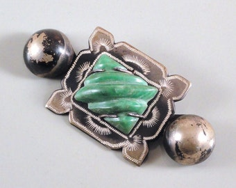 Antique Aztec Revival Carved Mexican Jade & Silver Brooch c1910s