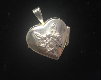 Silver heart fairy locket filled with Amber stones