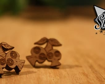 Cherry Skulls Stud Earrings- Laser Cut Wood