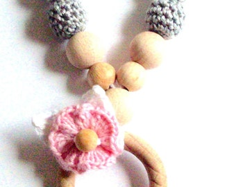Organic crochet Teething necklace, Baby wearing necklace, Nursing necklace, Breastfeeding necklace, Wooden beads nursing, Breastfeeding