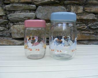 2xVintage le parfait france Geese glass storage jar