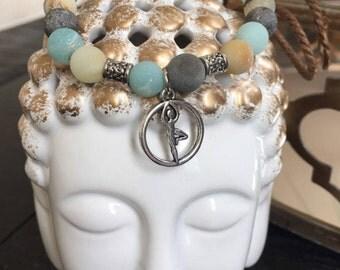 Amazonite yoga pose bracelet