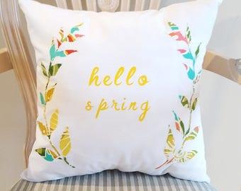 FREE SHIPPING, Decorative Pillow, Home Decor, Pillow, Hello Spring, Spring Decor, White, Yellow