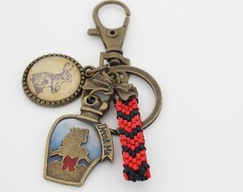 Alice in wonderland inspired key chain