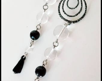 Clear glass drop earrings with black agate and black tassel
